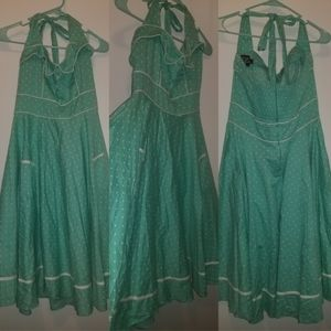 Hell Bunny Green and White Polka Dot Dress